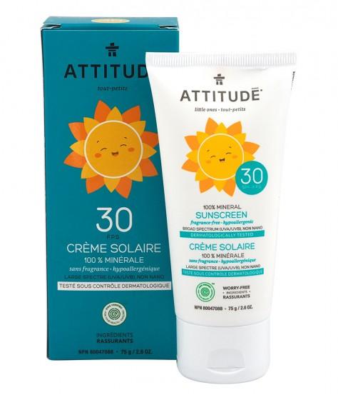 Слънцезащитен крем за деца SPF30 - без аромат - 75 г, Attitude,  75 г