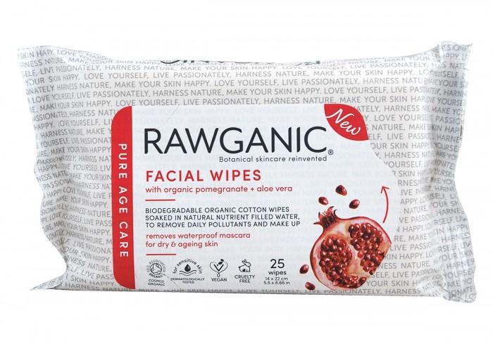 Anti-aging facial wipes - 25 pcs, Rawganic,  25 pcs