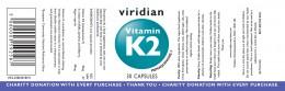 Витамин K2 - 30 капсули, Viridian,  30 бр