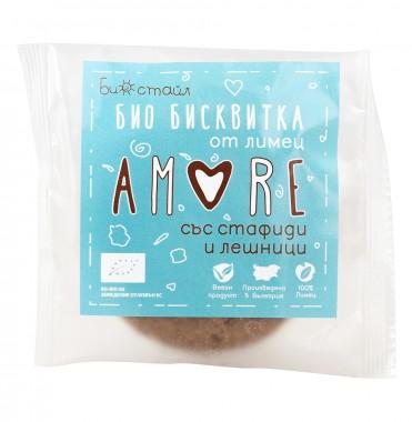 Бисквитка от лимец Amore със стафиди и лешници - био - 38 г