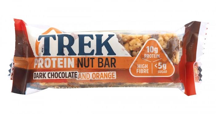 Протеинов бар с ядки Тъмен шоколад и портокал - 40 г, Trek,  40 г