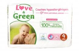 Бебешки хипоалергенни пелени - размери 1 - 4, Love & Green,  23 бр,  36 бр,  52 бр,  46 бр