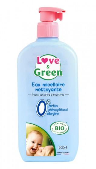 Почистваща мицеларна вода за бебета - био - 500 мл, Love & Green,  500 мл