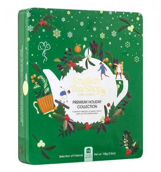 Празнична колекция био чай - Premium Green Tin - 72 пакетчета , English tea shop,  1 бр