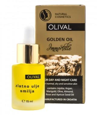 Златно масло за лице с безсмъртниче - 15 мл