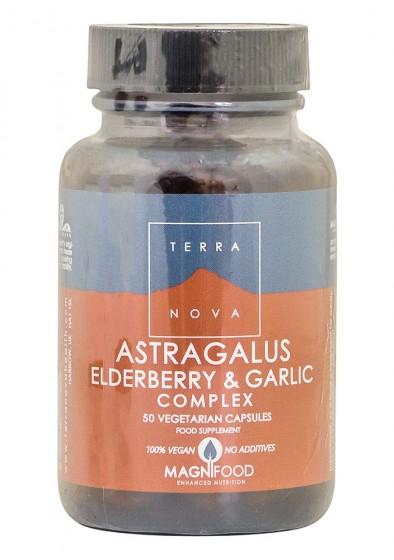 Комплекс Астрагалус, черен бъз и чесън - 50 капсули, Terra Nova,  50 бр