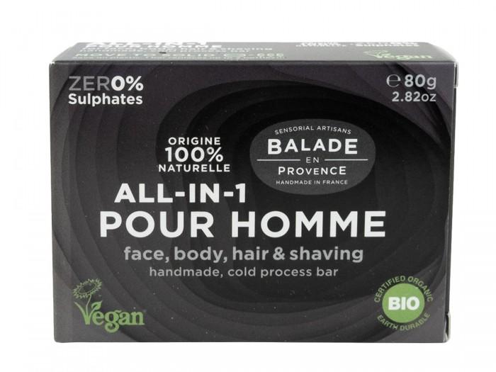Мъжки твърд шампоан и сапун за бръснене All-in-1 - био, Balade en Provence,  80 г