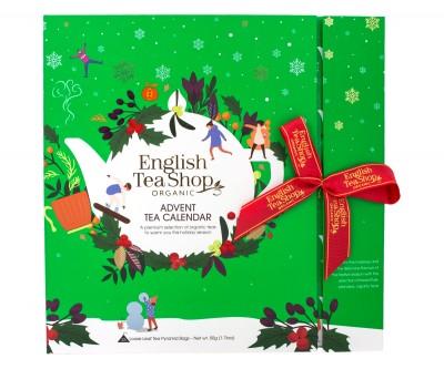 Зелен коледен календар с пакетчета чай изненада - био