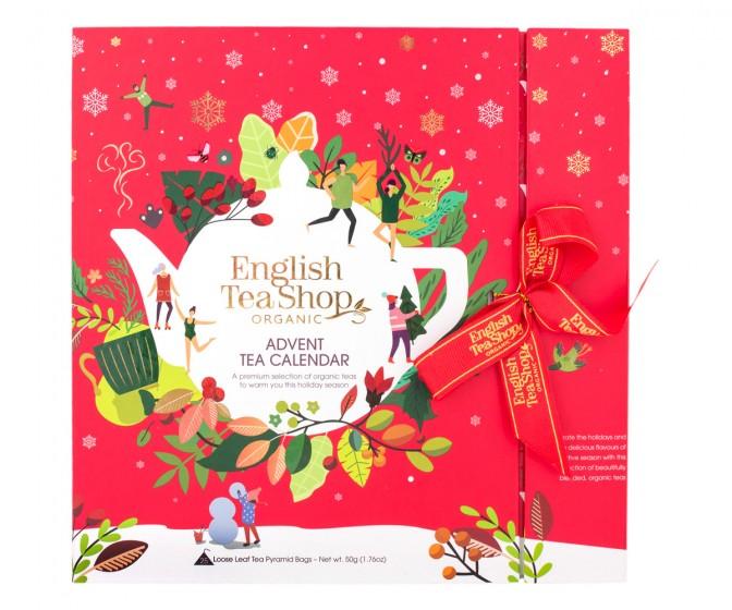 Червен коледен календар с пакетчета чай изненада - био, English tea shop,  1 бр