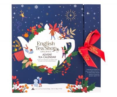 Син коледен календар с пакетчета чай изненада - био