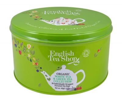 Класическа колекция с бял и зелен чай - Green Round Tin - био