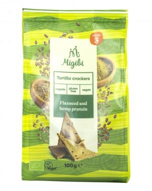 Tortilla crackers with hemp protein - organic