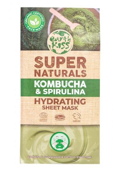 Хидратираща маска за лице с бамбуково платно Комбуча и спирулина - био, Earth Kiss,  1 бр