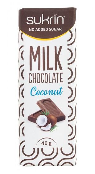 Milk Chocolate Coconut - sugar free, Sukrin,  40 g