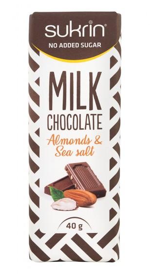 Milk Chocolate Almonds & Sea Salt - sugar free, Sukrin,  40 g