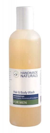 Душ-гел за мъже за коса и тяло с лимонена трева, Handmade Naturals,  250 мл