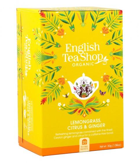 Oрганичен чай с лимонова трева, джинджифил и цитруси, English tea shop,  20 бр