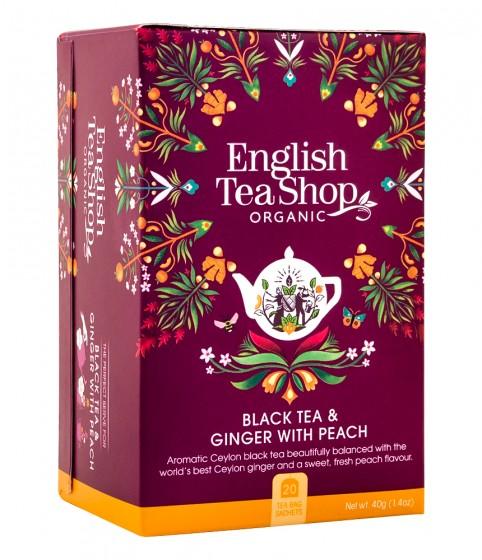 Органичен чай – джинджифил и праскова, English tea shop,  20 бр