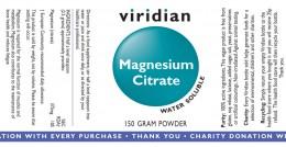 Магнезиев цитрат на прах - 150 г, Viridian,  150 г