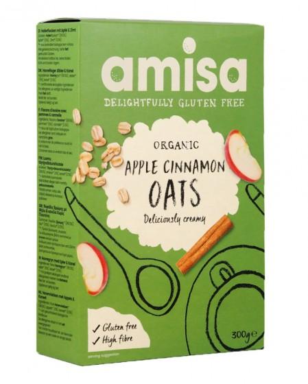 Био овесени ядки без глутен – ябълка и канела – 300 г, Amisa,  300 г