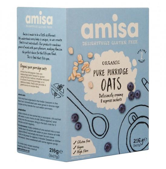 Organic Gluten Free Oats - Express Porridge Sachets 216 g, Amisa,  8 pcs
