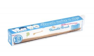 Детска бамбукова четка за зъби - синя