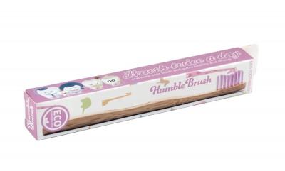 Детска бамбукова четка за зъби - розова