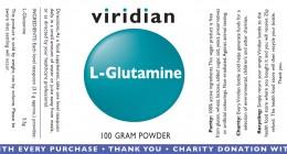 L-глутамин на прах 100 г, Viridian,  100 г