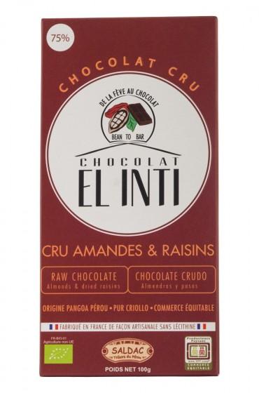 Био суров шоколад с бадеми и стафиди – 100 г, Saldac,  100 г