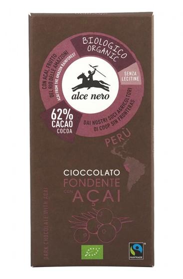 Био тъмен шоколад с плодове асай – 50 г, Alce Nero,  50 г