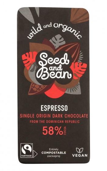 Органичен черен шоколад с кафе – 85 г, Seed and Bean,  85 г