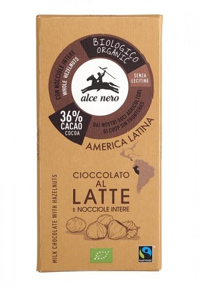 Био млечен шоколад с лешници – 100 г, Alce Nero,  100 г