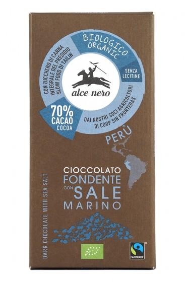 Натурален шоколад 70% с морска сол – био – 50 г, Alce Nero,  50 г