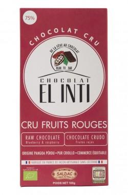 Био суров шоколад с малини и боровинки – 100 г