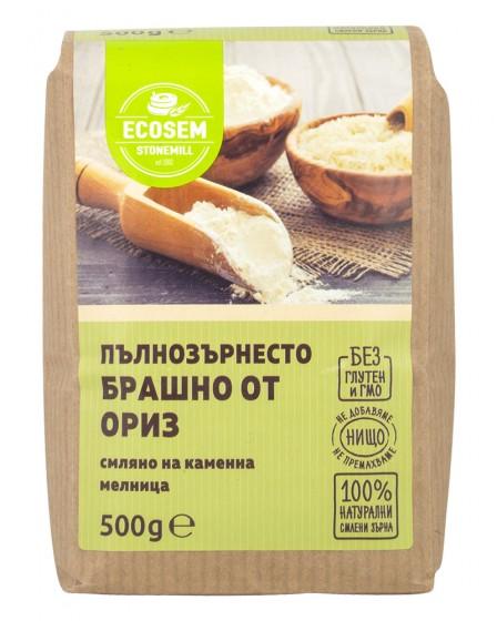 Натурално пълнозърнесто брашно от ориз - 500 г, Ecosem,  500 г