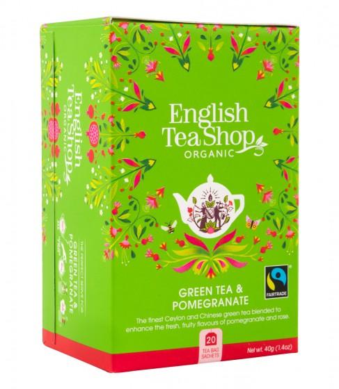 Органичен зелен чай с нар - 20 пакетчета, English tea shop,  20 бр