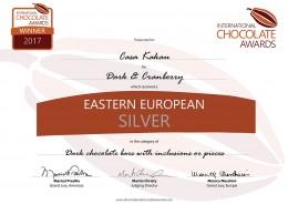 Черен шоколад с червена боровинка - 90 г