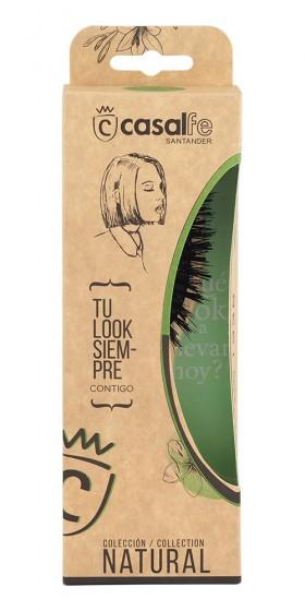 Малка овална дървена четка за коса с естествен косъм, CasalFe,  1 бр