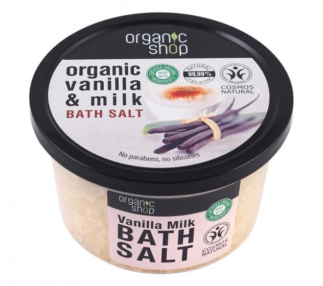 "Соли за вана ""Ванилово мляко"" - 250 мл, Organic Shop,  250 мл"