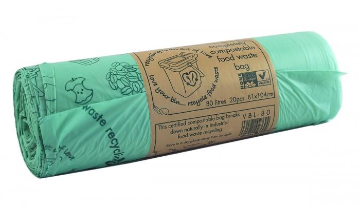 Компостируеми чували за отпадъци - 80 л / 20 бр, Vegware,  20 бр